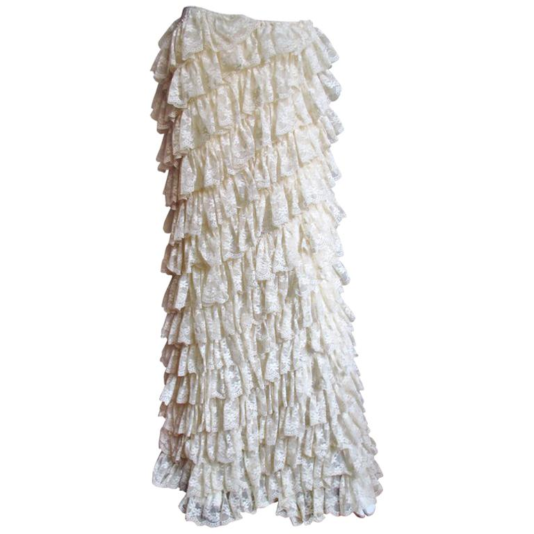 1990s Alexander McQueen Lace Ruffle Maxi Skirt For Sale