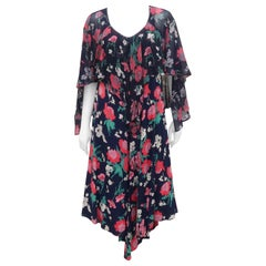 Early Nicole Miller 1970's Floral Bohemian Dress With Overlay