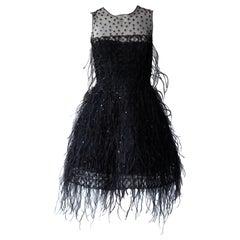 Oscar De La Renta Black Feather Cocktail Dress