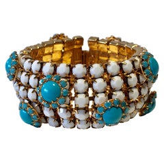 Vintage Designer Faux Turquoise Statement Bracelet
