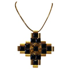 Vintage 1970's Architectural Cross Statement Pendant Necklace