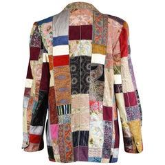 Roberto Cavalli Vintage Printed Suede, Leather & Denim Patchwork Jacket, 1980s
