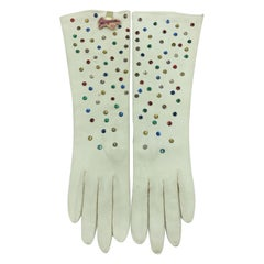 Schiaparelli by Fownes Cream Gloves w Hand Sewn Beaded Rhinestones Orignal tag