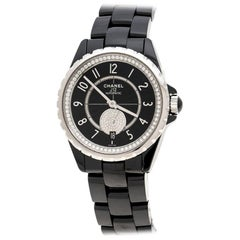 Chanel Black Ceramic and Diamonds J12-365 H3840 Women's Wristwatch 36 mm
