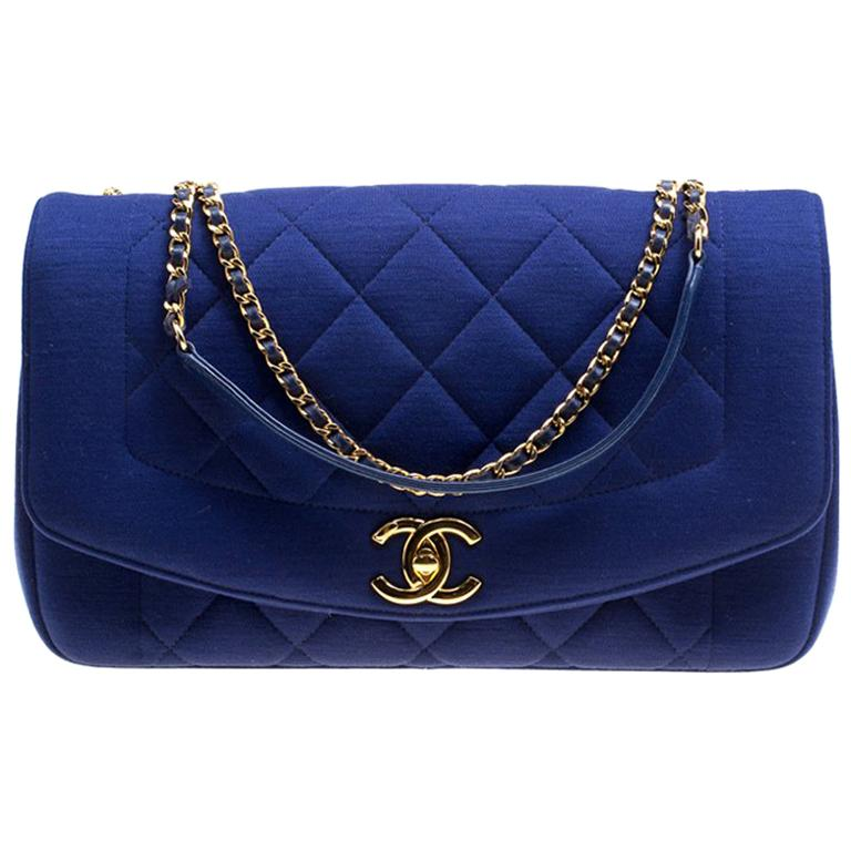 07b0fe10b9fb Chanel Blue Quilted Jersey Diana Flap Bag For Sale at 1stdibs