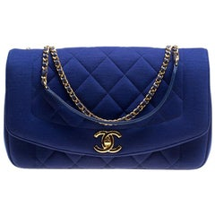 Chanel Blue Quilted Jersey Diana Flap Bag