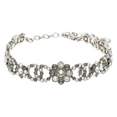Chanel CC Flower Crystal Embellished Silver Tone Choker Necklace