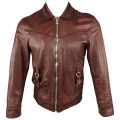DOLCE & GABBANA 36 Burgundy Leather Bondage Strap Zip Up Bomber Jacket