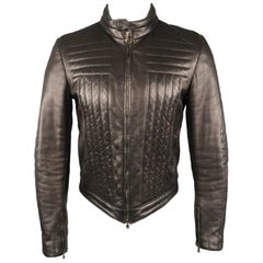 Men's GUCCI by TOM FORD 38 Black Quilted Leather Zip Up Biker Jacket