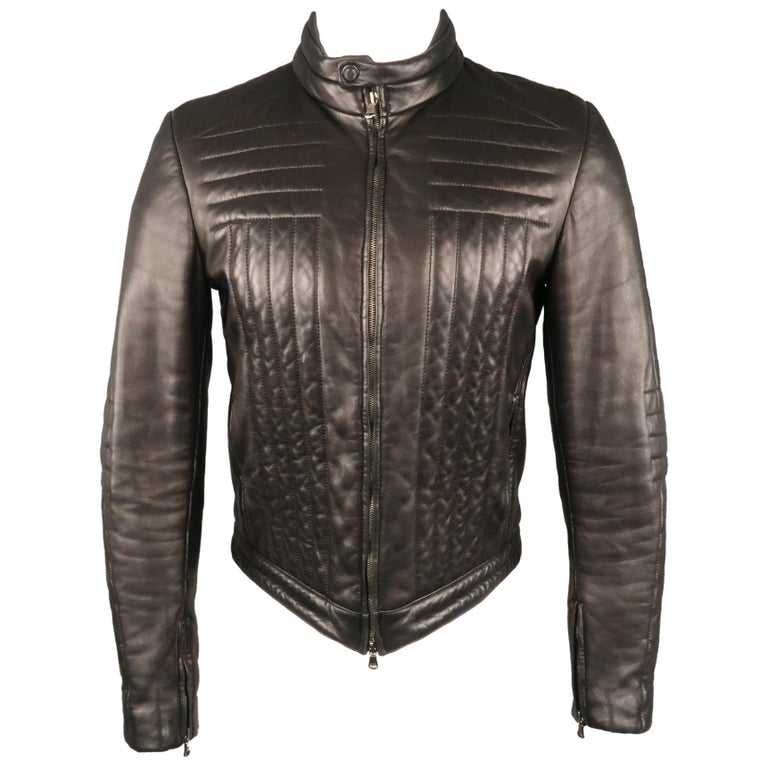 c115d8d9e Men's GUCCI by TOM FORD 38 Black Quilted Leather Zip Up Biker Jacket For  Sale