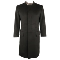 Men's GUCCI by TOM FORD 42 Black Solid Wool / Cashmere Leather Collar Coat