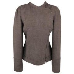 CALVIN KLEIN Collection Size 8 Grey Wool / Viscose Assymmetrical Jacket