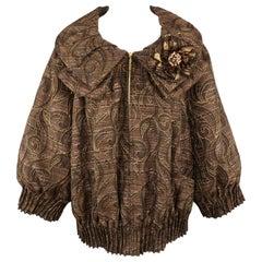 ST. JOHN COUTURE Size XL Brown Jacqard Flower Collar Balloon Sleeve Jacket