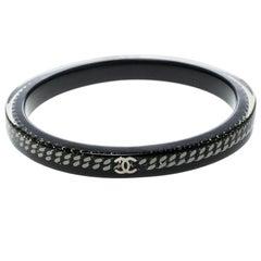 Chanel CC Black Resin Link Chain Bangle Bracelet