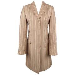 DRIES VAN NOTEN Size 4 Beige & Red Striped Silk / Linen Notch Lapel Coat