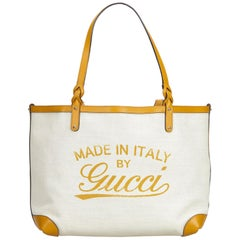 Gucci Brown Canvas Craft Tote Bag
