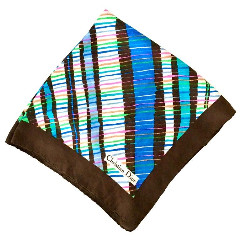 1970'S Christian Dior Geometric Stripe Silk Scarf For Sale
