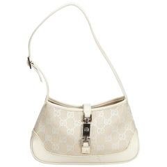 Gucci White New Jackie Jacquard Shoulder Bag