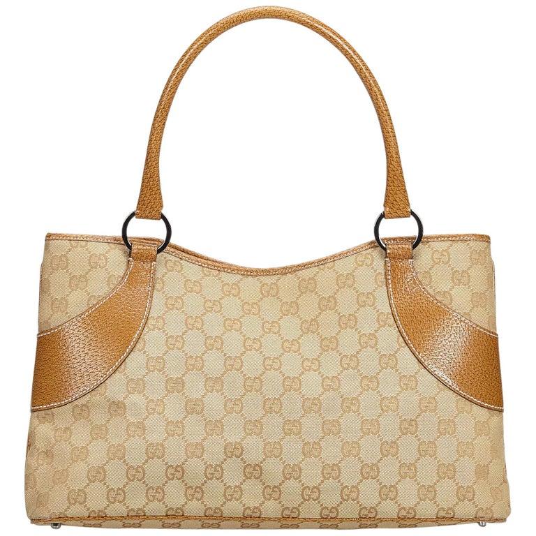 eacb5084130c Gucci Brown GG Jacquard Tote Bag at 1stdibs