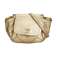Prada Gold Vitello Daino Bandoliera Crossbody Bag