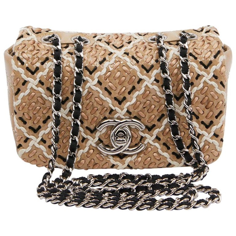 CHANEL Mini Bag in Beige Breaded Leather with Quilted Effect For Sale