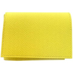 HERMES Guernesey 3CC Card Holder in Yellow Grained Leather