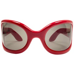Ultra Rare Vintage Oliver Goldsmith Yuhu Candy Red Oversized 1966 Sunglasses