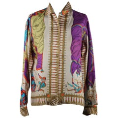 Emilio Pucci Rare Vintage 1957 Palio di Siena Silk Pantera Shirt Size 14