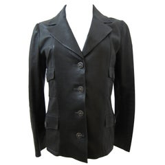 Chanel Classic Black Soft Thin Leather Jacket CC buttons