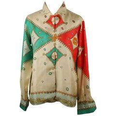 Emilio Pucci Rare Vintage 1957 Palio di Siena Silk Oca Shirt Size 14