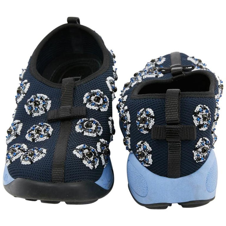 DIOR Fusion Sneakers By Raf Simmons in Dark Blue Canvas Size 38.5FR For Sale
