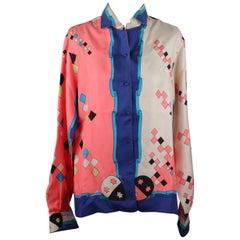 Emilio Pucci Rare Vintage 1957 Palio di Siena Silk Giraffa Shirt Size 14