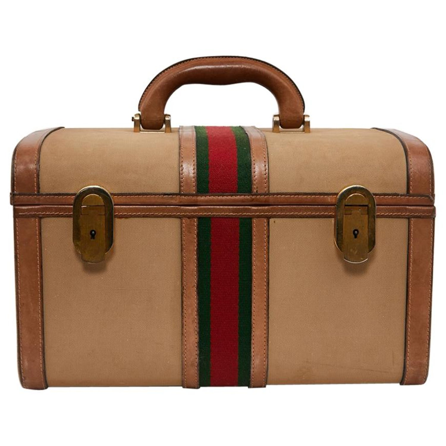 acd06c72b02 GUCCI Vintage Vanity Case in Beige and Brown Canvas and Leather For Sale at  1stdibs