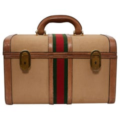 GUCCI Vintage Vanity Case in Beige and Brown Canvas and Leather