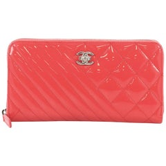 Chanel Coco Boy Zip Around Wallet Quilted Patent Long