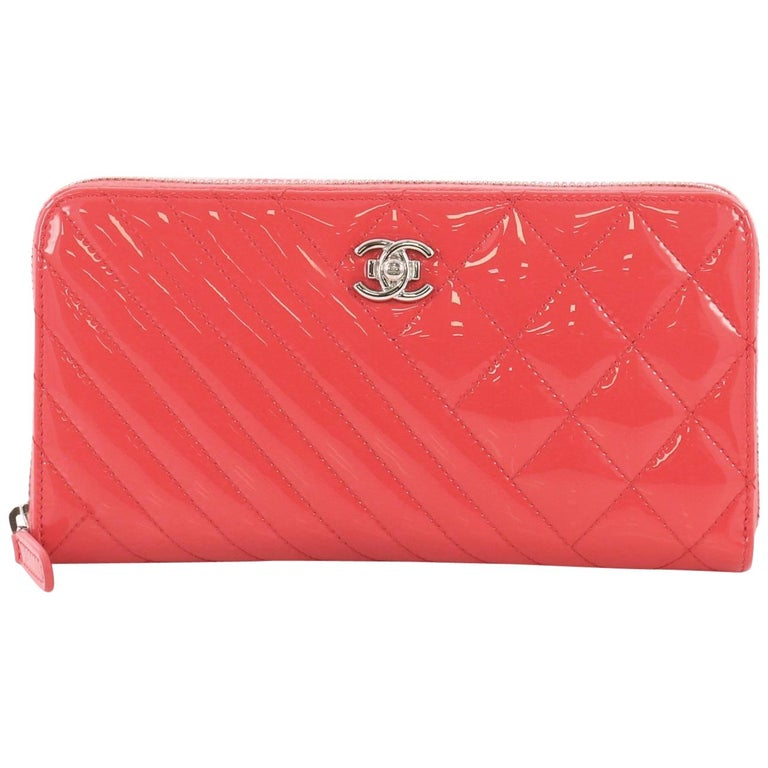 456c08f780fa Chanel Coco Boy Zip Around Wallet Quilted Patent Long For Sale at ...