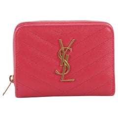 Saint Laurent Classic Monogram Zip Around Wallet Matelasse Chevron Leather Compa