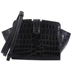 Saint Laurent Monogram Cabas Crocodile Embossed Leather Toy