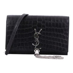 Saint Laurent Classic Monogram Tassel Chain Wallet Crocodile Embossed Leather