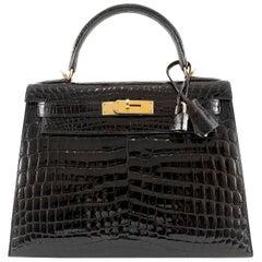 Hermès 28 cm Black Shiny  Niloticus Crocodile Kelly Bag