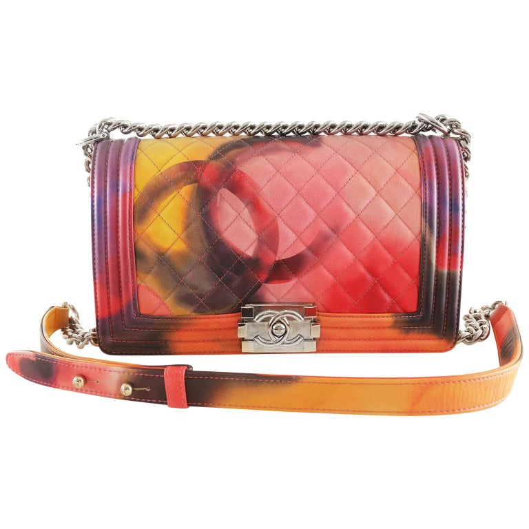 9a376c381080d7 Chanel Flower Power Multicolor Leather Boy Bag- Special Edition For Sale