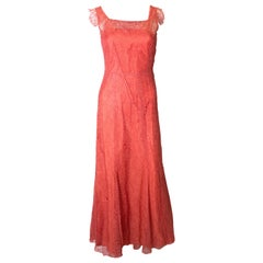 Vintage Rose Pink Lace Gown