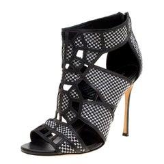 Sergio Rossi Monochrome Woven Raffia And Leather Cutout Sandals Size 36