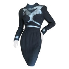 Thierry Mugler Vintage 1980's Sexy Sheer Cut Out Dress Museum Exhibition Piece