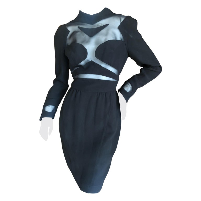 Thierry Mugler Vintage 1980's Sexy Sheer Cut Out Dress Museum Exhibition Piece For Sale
