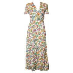 Vintage 1940s Linen Print Dress