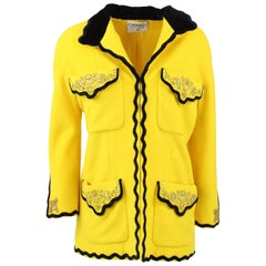 1990s Chanel Embroidered Yellow Wool Jacket