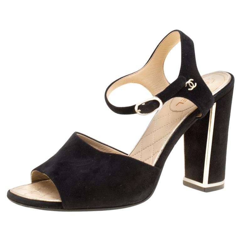 2e9c29c4f8f3 Chanel Black Suede Ankle Strap Block Heel Sandals Size 37.5 For Sale at  1stdibs