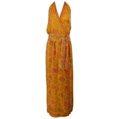 Treacy Lowe London Floral Silk Print Halter Maxi Dress 1970s