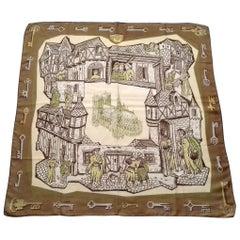 Hermès Vintage Silk Scarf Le Moyen Age Le Vieux Paris Vauzelles 1960 1A